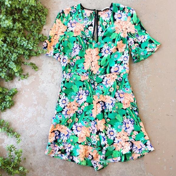 Sandro Eudelin Green Floral Romper Playsuit